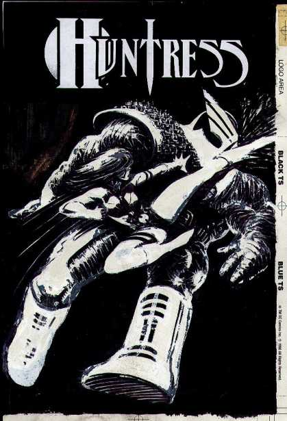 Original Cover Art - The Huntress #4 Cover ( 1994) - Huntress - Female - Kicking - Creature - Black And White Colors