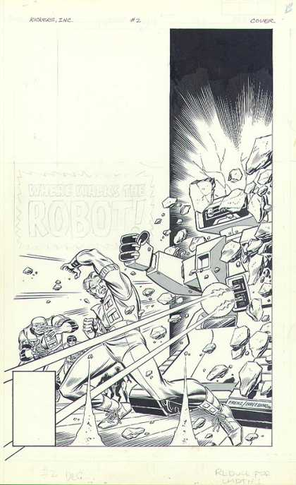 Original Cover Art - Kickers - Rob The Robot - Robot Smashing - Inked Sketch - Man Dodging Lasers - Robbers
