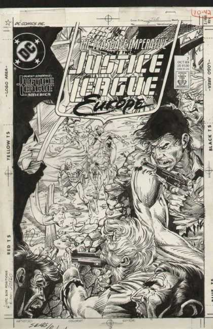 Original Cover Art - Justice League Europe - Gun - Ready For Attack - Europe - The Teasdale Imperative - Justice League America