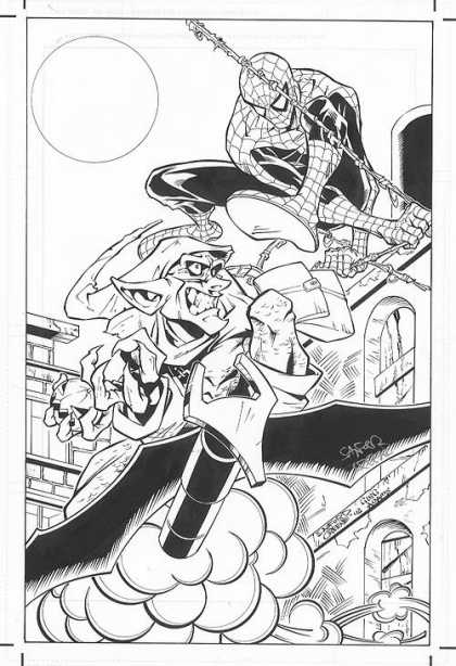 Original Cover Art - Spiderman/Green Goblin Movie Cover - Round - Superman - Book - Rope - Villain