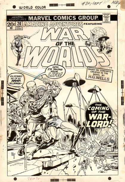 Original Cover Art - Amazing Adventures #20 Cover (1973) - War Of The Worlds - Aliens - Tripod - Warlord - September 1920