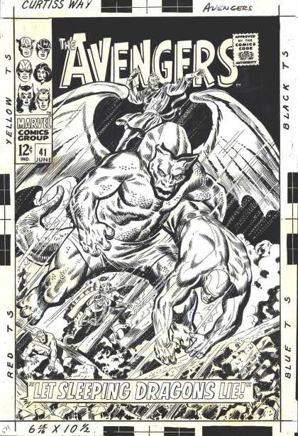 Original Cover Art - Avengers #41 Cover (Large Art) 1967 - Avengers - Marvel - June - Sleeping - Dragons