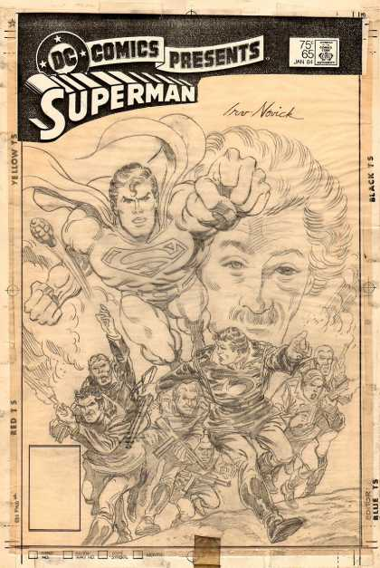 Original Cover Art - DC Comics Presents #69 PENCILED Cover (1983) - Dc Comics - Superman - Approved By The Comics Code Authority - Red Ts - Yellow Ts
