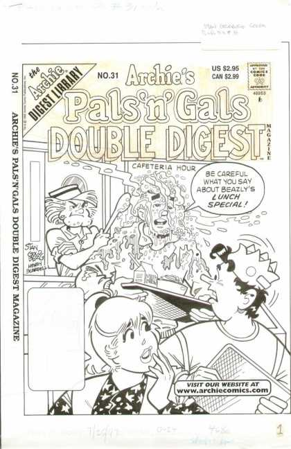 Original Cover Art - Pal's n Gals Double Digest - Lunch - Cafeteria - Careful - Tray - Stan Goldberg