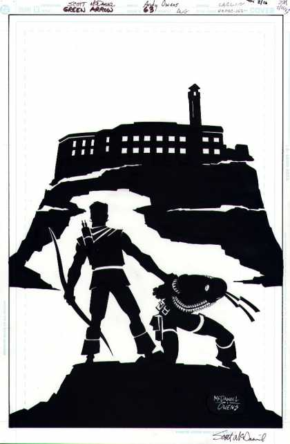 Original Cover Art - Green Arrow - Black And White - Silhouette - Building - Shadows - Bow