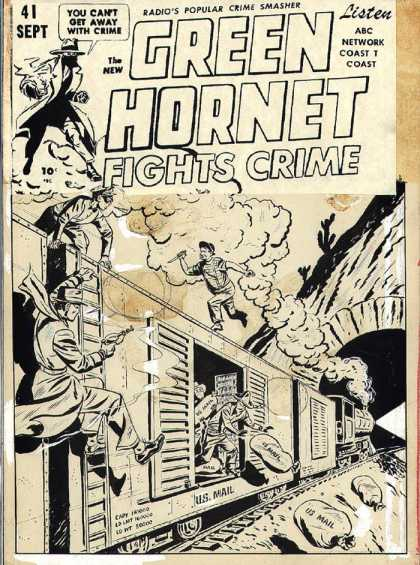 Original Cover Art - Green Hornet #41 cover (1948) - Green Hornet - Fights Crime - Cant Get Away - Radio - Popular Crime Smasher