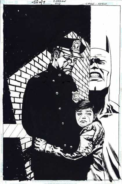 Original Cover Art - Batman - Batman - Policeman - Crying Boy - Tears - Agony