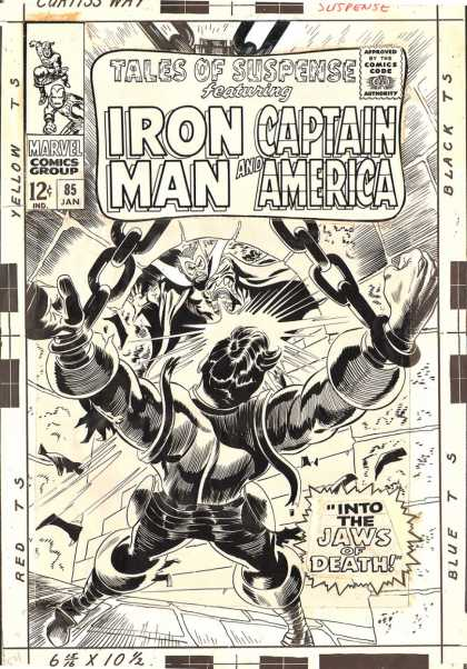 Original Cover Art - Tales Of Suspense #85 PUBLISHED COVER (Large Art) 1966 - Tales Of Suspense Featuring - Iron Man - Captain America - Into Jaws Of Death - Red Ts