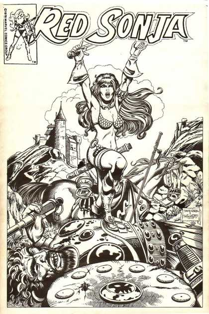 Original Cover Art - Red Sonja #12 cover 'unpublished' (1977) - Horse - Castle - Defeated Giant - Shield