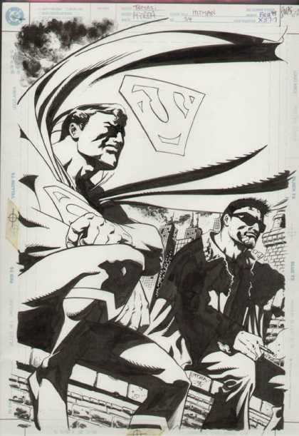 Original Cover Art - Hitman - Superman - Black And Whte - Glasses - Sitting On Parapet - Buildings