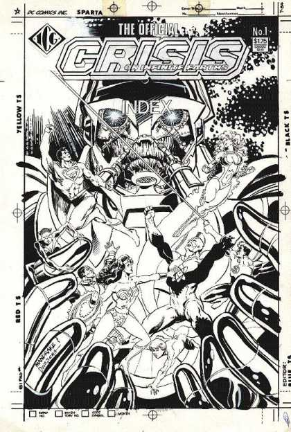 Original Cover Art - CRISIS On Infinite Earths: Index #1 Cover (1986) - Crisis - Mayhem - Wonder Woman - Superman - Battle