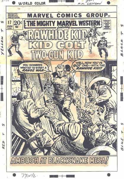 Original Cover Art - Mighty Marvel Western #17 Cover - Old West - Cowby - Revolvers - Rawhide Kid - Two Gun Kid