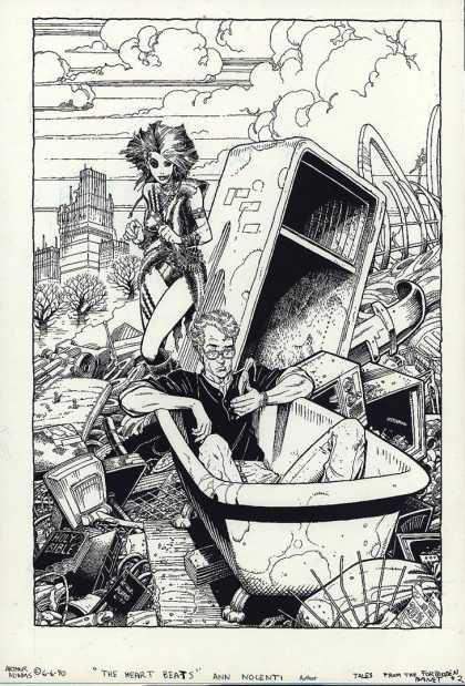 Original Cover Art - Tales From The Forbidden Planet - Broken Building - One Man U0026 Women - Tub - Oven - Some Tree