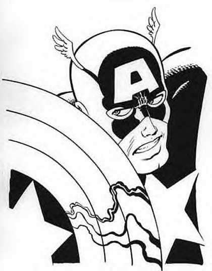 Original Cover Art - Captain America pinup for T-Shirt Design - Inverted - Shallow - Black Anger - White Truth - Searching