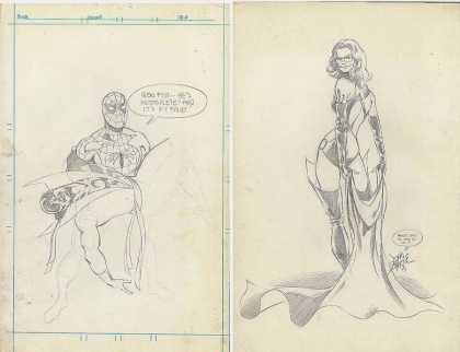 Original Cover Art - Incomplete penciled 1977 Marvel Teamup Cover with extra on back!