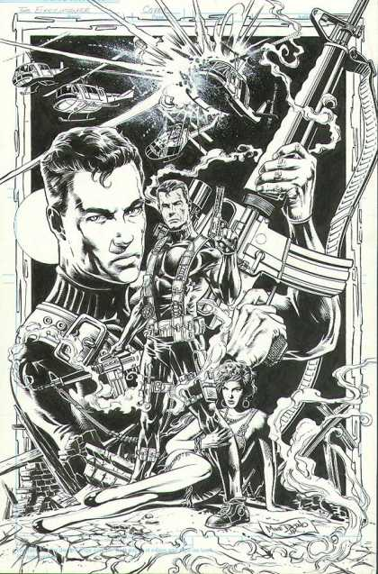 Original Cover Art - Don Pendleton's Mack Bolan: The Executioner Cover - Helicopter - Rifle - Man - Soldier - Woman