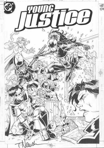 Original Cover Art - Young Justice - Young Justice - Woman - Man - Superhero - Alien
