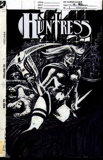 Original Cover Art - The Huntress #1 Cover ( 1994) - Huntress - Cross - City - Weapon - Night