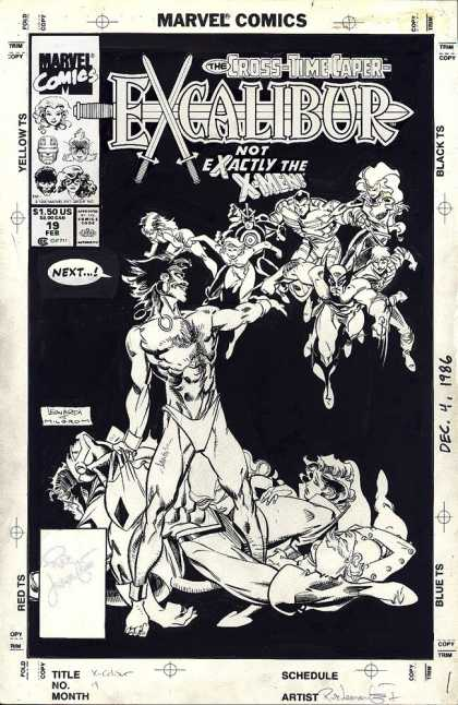 Original Cover Art - Excaliber #19 Cover (1989) - Swords - Black And White Cover - Injured Characters - Women Superheros - Bare Chested Villian