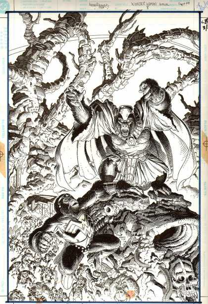 Original Cover Art - Wonder Woman Annual #8 Cover (1999) - Black And White - Beast - Skull - Gorillas - Chaos