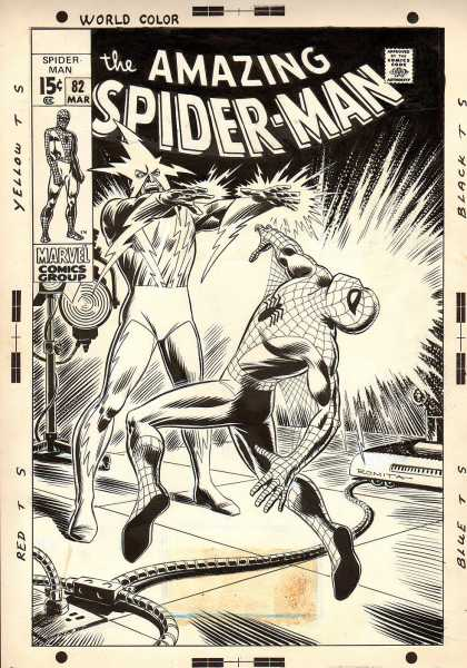 Original Cover Art - Amazing Spider-man #82 Cover (1969) - Knock Out - Zapped - Eclectric - Enemy - Fight