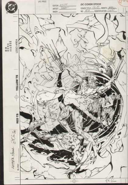 Original Cover Art - Justice League Europe - Dc - Dc Comics - Page Art - Ink - Cover