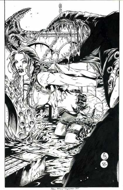 Original Cover Art - Tomb Raider - Adult Graphic Novels - Black And White - Fantasy - Adventure Babes - Grotesque Monsters