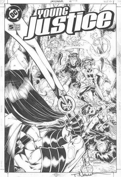 Original Cover Art - Young Justice - Sword - Superheros - Fighting - Villan - Long Hair