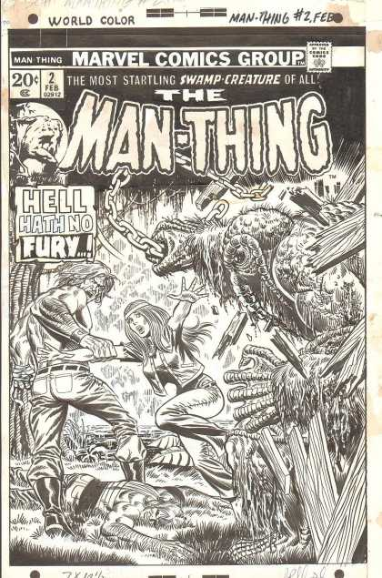 Original Cover Art - Man-Thing #2 Cover (1973) - Marvel - Marvel Comics - Man-thing - Swamp Creature - Creatures