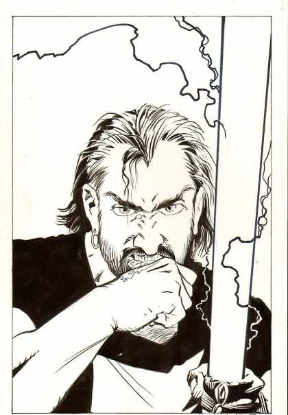 Original Cover Art - Mage #6 Cover (1998) - Black And White - Earring - Angry Man - Black Shirt - Fist
