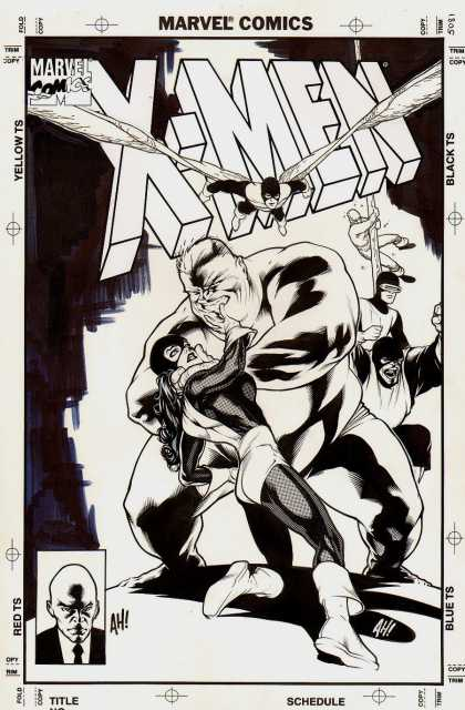 Original Cover Art - X-Men Classic cover - Marvel Comics - X-men - Professor X - Black And White - Villian