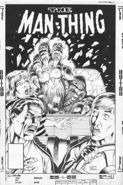 Original Cover Art - Manthing #6 Alternate Cover   - The Man-thing - Claw - Windshield Car - Steering Wheel - Carseat