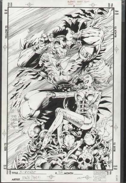 Original Cover Art - X-Force - Black And White - Monster - Evil Woman - Tony - X Force