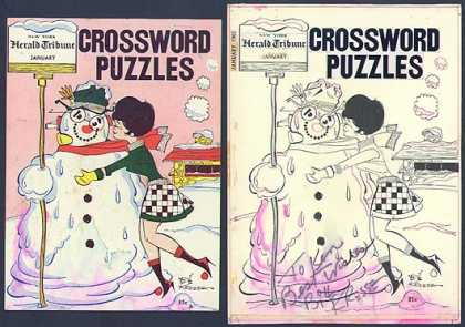 Original Cover Art - 1965 Snowman Crossword Puzzle Cover Art