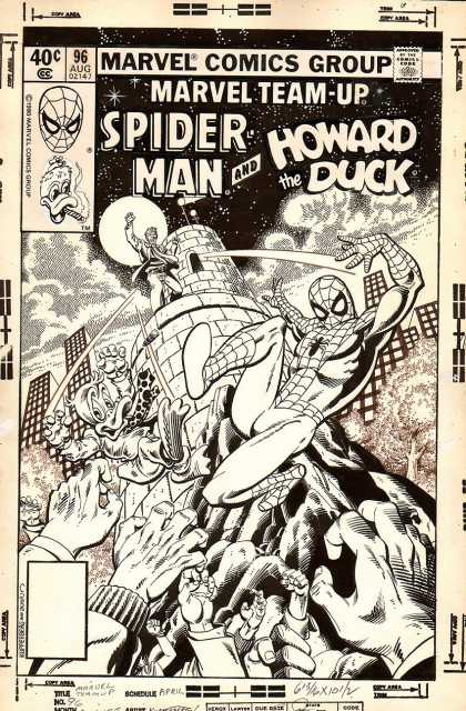 Original Cover Art - Marvel Team-Up #96 Cover (1980) - Spider Man - Howard The Duck - Black And White - Tower - Grasping Hands