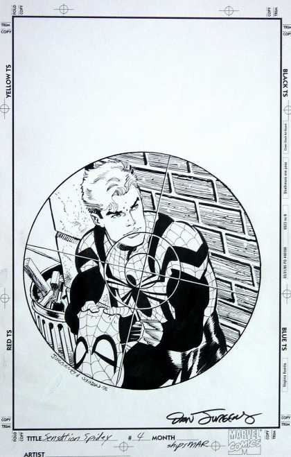 Original Cover Art - Sensational Spiderman - Crosshairs - Spiderman - Trash - Brickwall - Gun