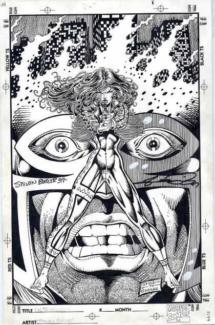 Original Cover Art - Ultraforce - Yellow - Woman - Gun - Mask - Steven Butler