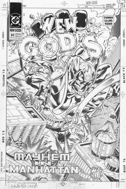 Original Cover Art - New Gods - Dc - New Gods - Mayhem In Manhattan - Black And White - Sketch