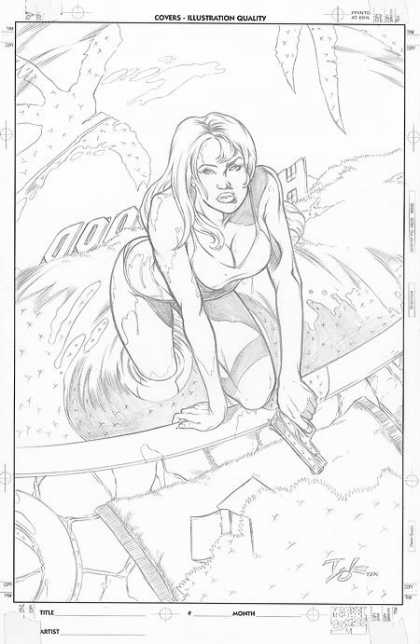 Original Cover Art - Penciled Babe Cover - Woman - Gun - Bikini - Pool - Black And White Sketch