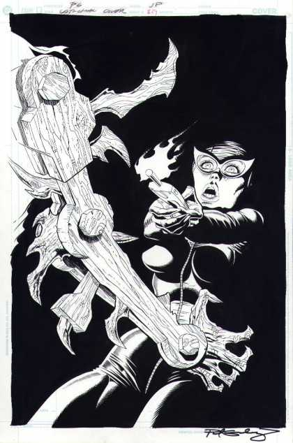 Original Cover Art - Catwoman #39 Cover (2004) - Black And White - Remote Control - Shock - Wooden - Arm