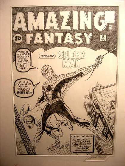 Original Cover Art - AMAZING FANTASY #15 COVER RECREATION (1993)