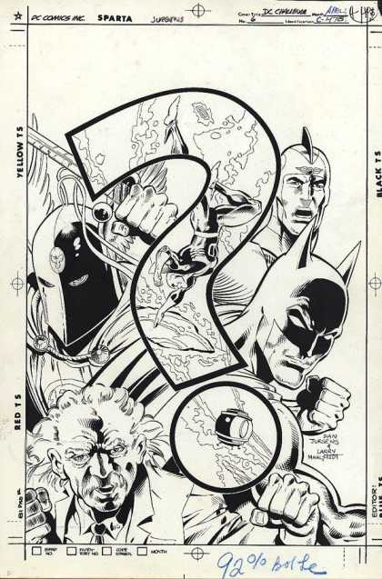 Original Cover Art - D.C. Challenge - Bat - People - Man - Gun - White