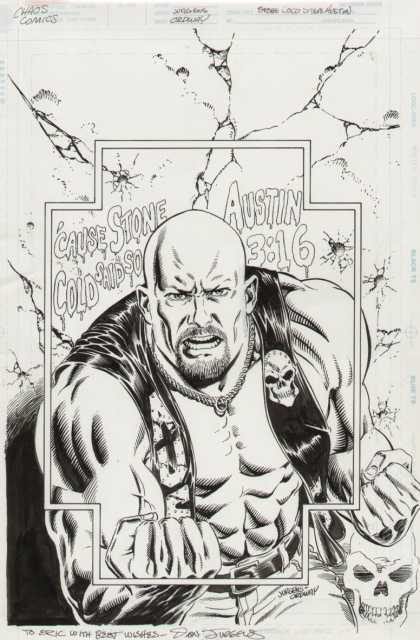 Original Cover Art - Stone Cold Steve Austin Cover - Austin 316 - Bald Head - Wrestler - Stone Cold - Skull