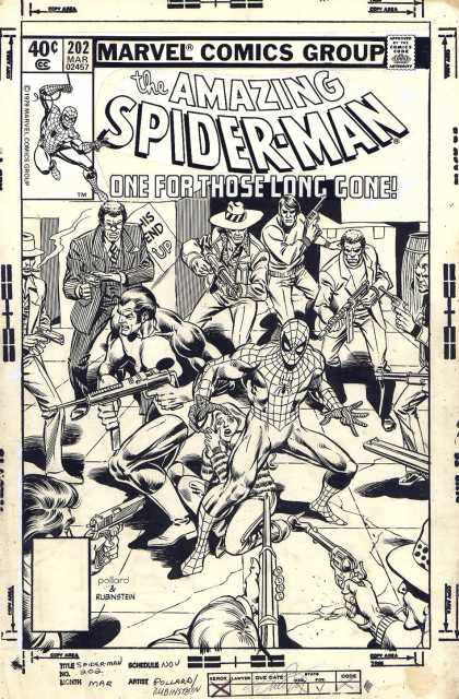 Original Cover Art - Amazing Spiderman #202 Cover (1979) - Punisher - Spider-man - Guns - Action - Surrounded