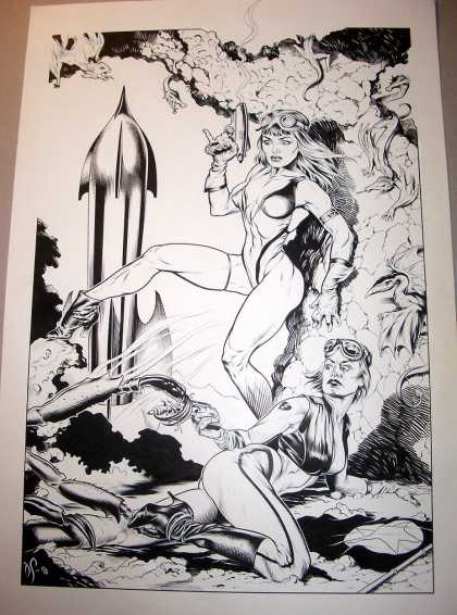 Original Cover Art - Dave Stevens Penciled And Inked Huge Babe Pinup Art - Bw - High Heels - Future - Rocket - Girls
