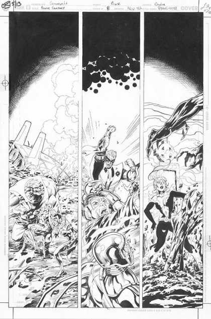 Original Cover Art - Power Company: Josiah Power - Black And White - Comic Strip Cells - Layout - Destruction - Superhero