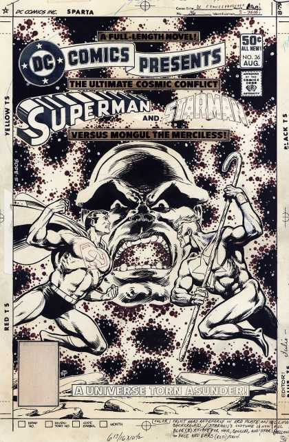 Original Cover Art - DC Comics Presents #36 Cover (1980) - Superman - Starman - Mongul The Merciless - Staff - A Universe Torn Asunder