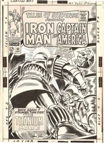 Original Cover Art - Tales Of Suspense #93 Cover (Large Art) 1967 - Iron Man - Captain America - Marvel Comics - Titanium Man - Tales Of Suspense