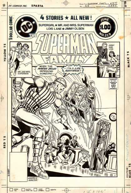 Original Cover Art - Superman Family #219 Cover (1982) - 4 Stories - Dc - The Superman Family - Cage - Battle