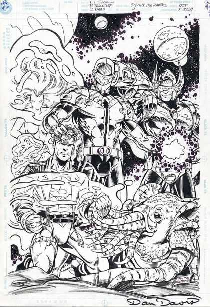Original Cover Art - Superboy And The Ravers - Superheroes - Space - Alien - Planets - Tentacles